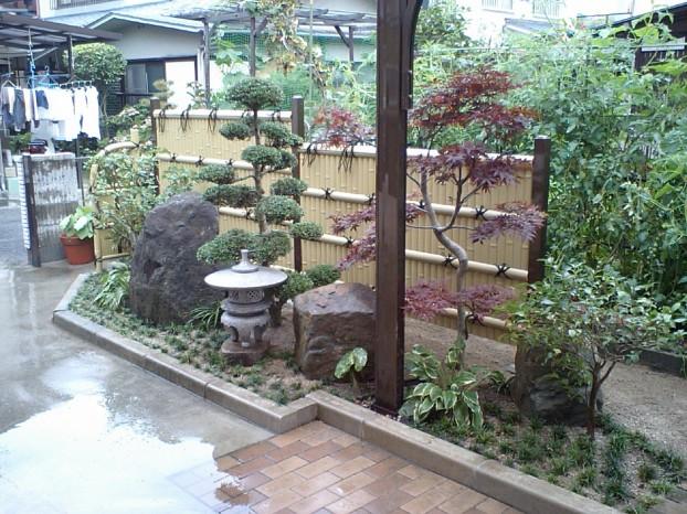 目隠しを兼ねた和風坪庭 |岩国市 外構 エクステリア 造園